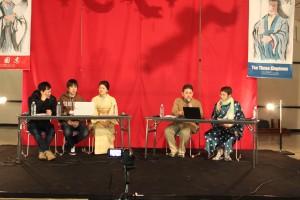 三国志DE中国大陸一周旅行のメンバー。右からレキシズルの渡部さん、哲舟さん、盛山春美さん、さくら剛さん。