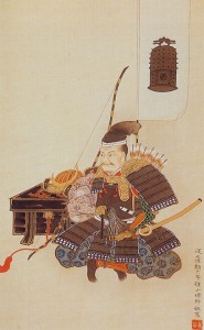 伊達藩白石城主 片倉小十郎景綱。家紋の釣り鐘が描かれている。