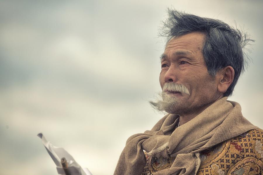 俳優の田中泯さんも地元の人と共に出演。 Photo by Kenichi Aikawa