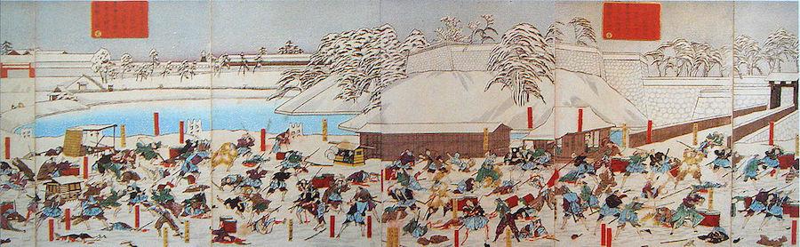 時の大老 井伊直弼が尊皇攘夷を唱える武士たちに暗殺された「桜田門外の変」。wikipediaより。