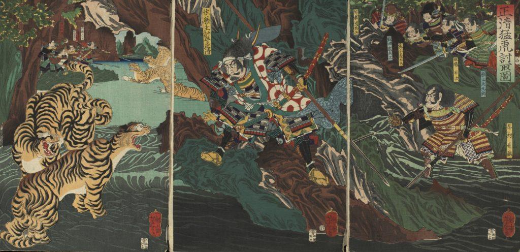 加藤清正の虎退治(月岡芳年画)