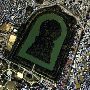 大仙陵古墳のステレオ空中写真。でかっ!