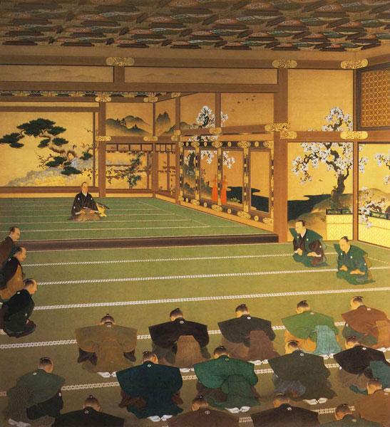 260余年を数えた徳川幕府が、京都二条城にて政権を返上した「大政奉還」の図。