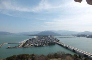 唐津城天守よりの眺望。