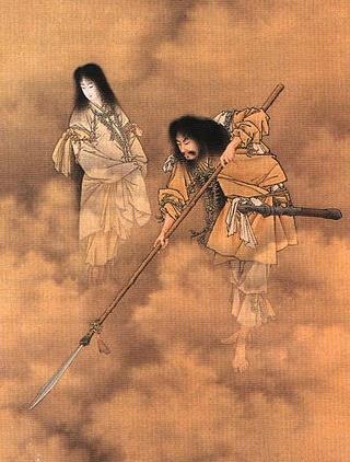 日本神話に登場する男神・イザナギと、その妹であり妻の女神・イザナミ