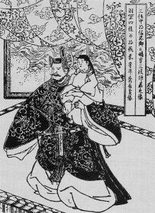 清洲会議にて秀吉が三法師を抱いて現れた絵。