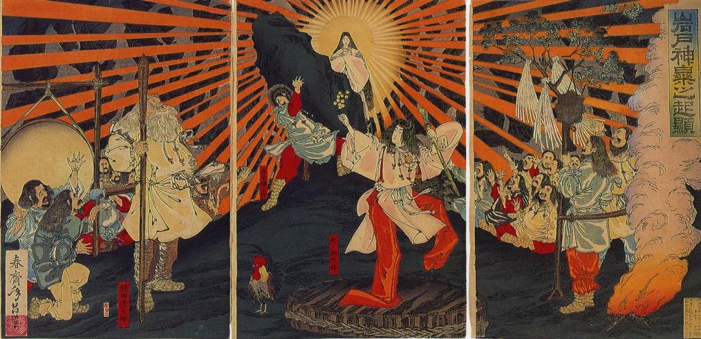 天岩戸神話の天照大神。春斎年昌画、明治20年(1887年)