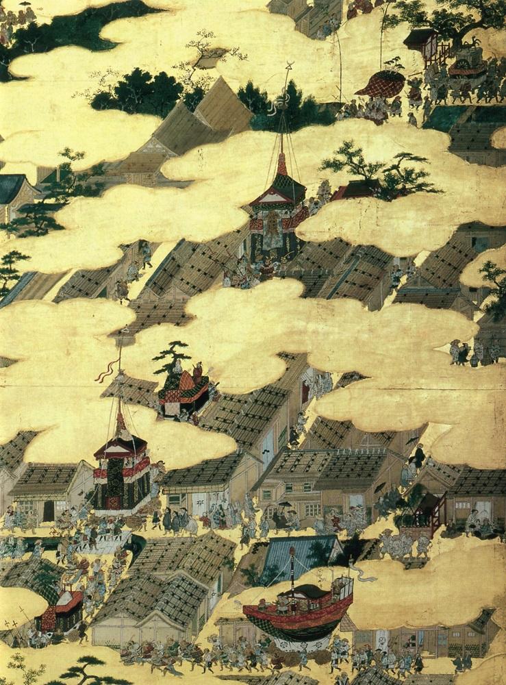狩野永徳筆『洛中洛外図屏風』(国宝、米沢市上杉博物館)