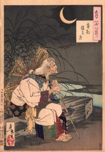 年老いた小野小町を描いた「卒塔婆の月」