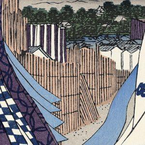 歌川広重作「神田紺屋町」の一部。鮮やかなスカイブルーの駄染めの「かめのぞき」が人気でした。