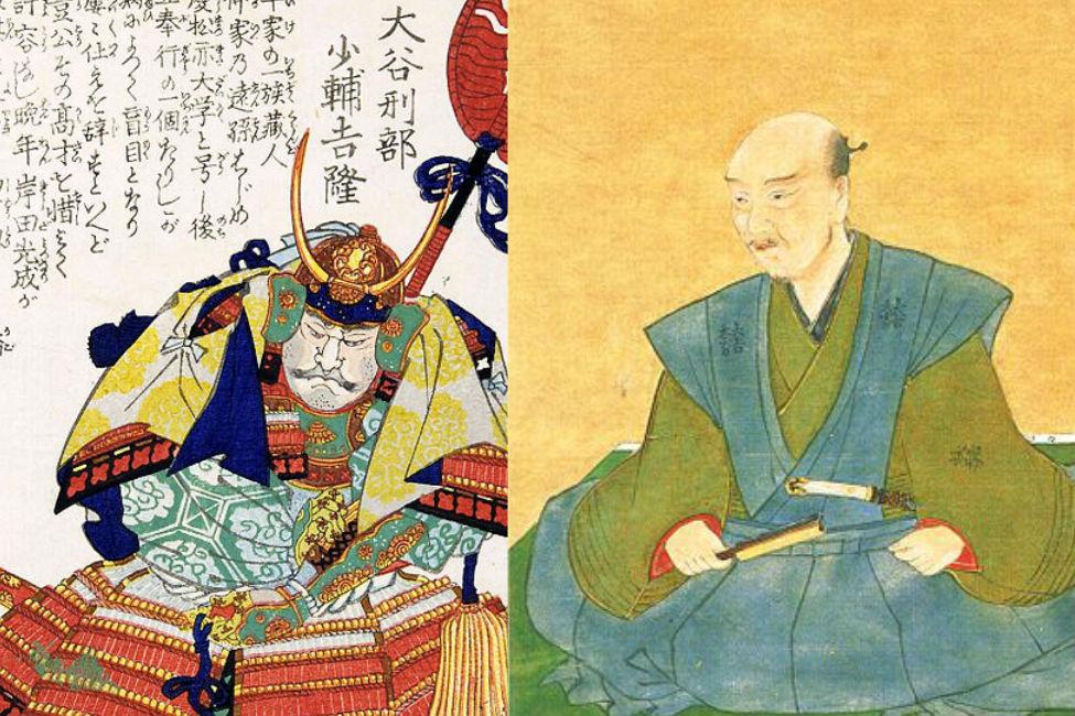 「親友同士、石田三成(右)と大谷吉継(左)」