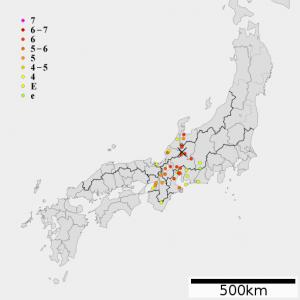 天正地震の震度分布