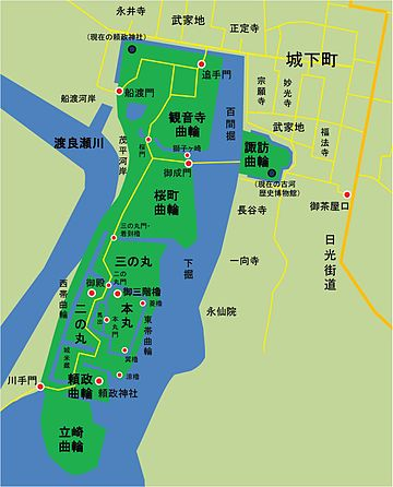 江戸時代後期の古河城地図。