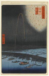 歌川広重による「名所江戸百景」に描かれた両国花火