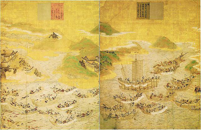『安徳天皇縁起絵図』 第七巻「壇の浦合戦」、第八巻「安徳天皇御入水」