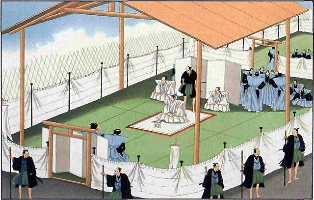 江戸時代末期の切腹の様子。中央の裃(かみしも)を着用した人が切腹人。
