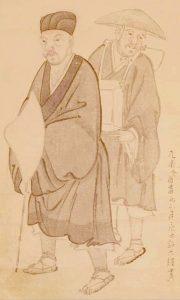 「奥の細道行脚之図」左が松尾芭蕉、右は河合曾良。