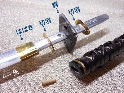 日本刀の鍔をはじめとする各部品の構造(模型)