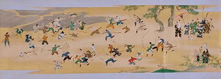 「東照社縁起絵巻」より、安倍川の石合戦の図(紀州東照宮蔵)