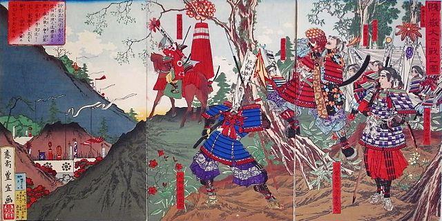 秀吉と賤ヶ岳の七本槍 『賤ヶ嶽大合戦の図』 (歌川豊宣画)