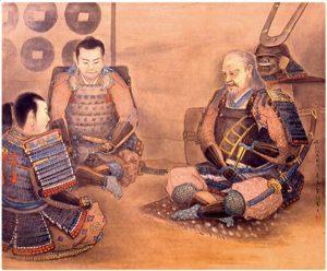 「真田父子犬伏密談図:この後昌幸・信繁は秀忠を迎え撃つ」(上田市立博物館所蔵)
