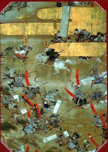 第四次川中島の戦いを描いた「川中島合戦図屏風」左隻部分(岩国美術館所蔵)