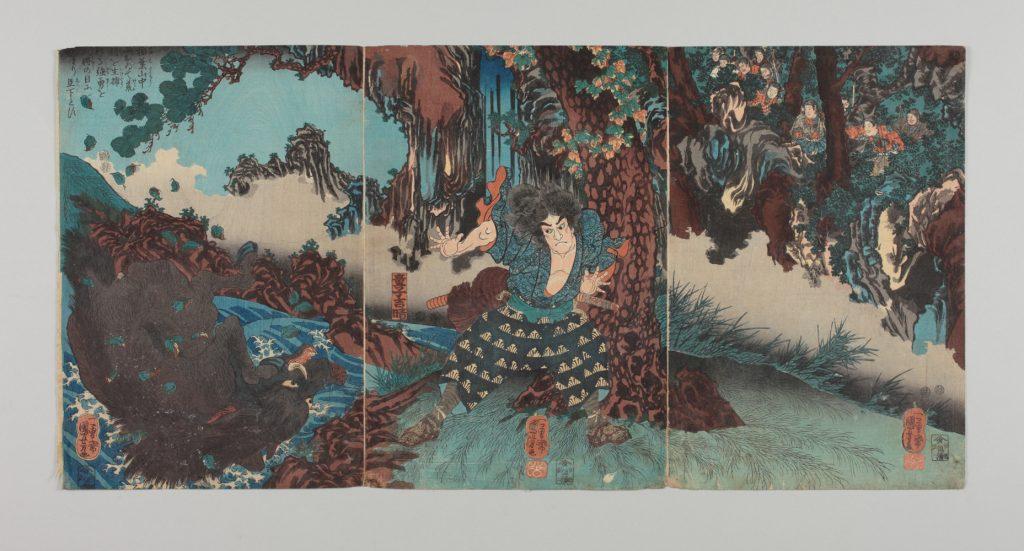 「稲葉山中におゐて荒猪を生捕たる強勇を大将の目にとまり臣下とす」 弘化 4~嘉永 5(1847~1852)年頃 所蔵:印刷博物館