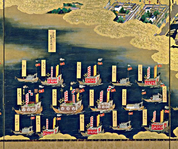 『江戸図屏風』では幕府船団が日の丸の幟を立てています。