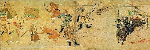 文永の役の様子を描いた『蒙古襲来絵詞』前巻、絵七。
