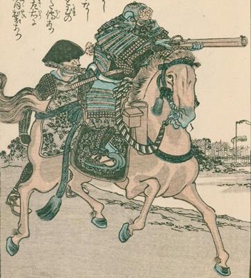 伊達軍が率いた騎馬鉄砲隊はこのような姿だったのだろうか。 (武道藝術秘傳圖會より)